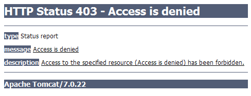 Рис 2. HTTP Status 403 - Access is denied